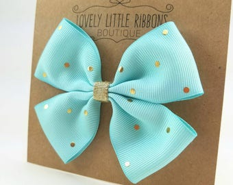 Light blue and gold bow, blue hair bows, girls hair bows, hair bows for girls, toddler hair bows, gifts for girls, hair bows