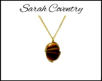 "SARAH COVENTRY Glass Tiger Eye ""Carameltone"" Pendant on Long Gold Chain, Brown Necklace, Graduation Gift, Mothers Day Gift For Her"