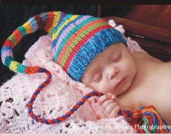 Newborn Baby Rainbow Hat Knit BaBY PHoTO PRoP Long Tail Stocking Cap Stripe Multicolor UNiSeX TaSSeL BeANiE Boy Girl Pixie Toque CoMiNG HoME