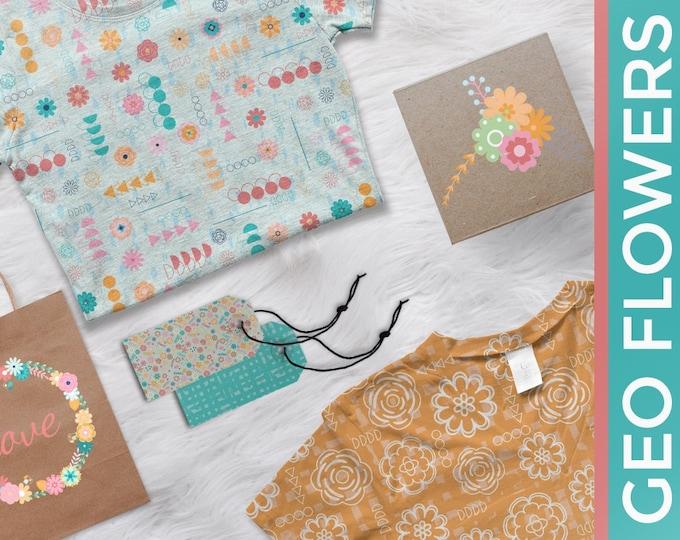 Geometric Flowers Clip Art and Pattern Set