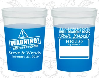Hello my name is, Plastic Mood Cups, Name Tag, Warning Reception in Progress, Blue Mood Cups (580)