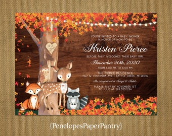 Rustic Fall Baby Girl Shower Invitation,Woodland,Baby Animals,Oak Tree,Carved Heart,Fall Leaves,Fairy Lights,Custom,Printed Invitation