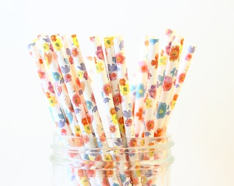 Floral Paper Straws, Garden Party Paper Straws 25, Mason Jar Straws, Flower Straws, Rustic Wedding, Party Straws, Paper Straw, Bridal Shower