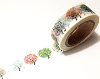 Japanese Washi Tape, Rainbow Season Trees, Nature 10METRE