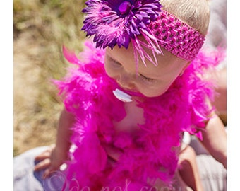 Hot Pink Crochet Headband with Violet Purple and Hot Pink Daisy Accented with Pink Rhinestone and Pink Feathers
