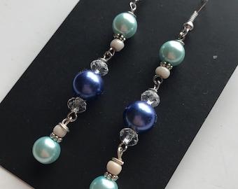 Blue Beaded Dangle Earrings, Blue Dangle Earrings, Glass Bead Dangle Earrings, Blue Bead Earrings, Blue Earrings, Dangle Earrings
