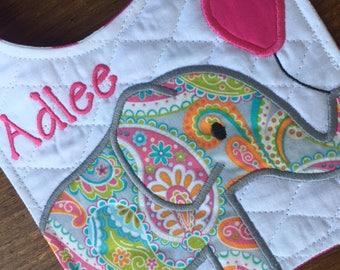 Elephant Personalized Bib for Girl - Pink and Paisley Bib - Newborn Baby Girl Bib - Baby Shower Gift - Girl Bib - Baby Girl