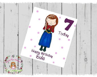 Frozen Inspired Anna Personalised Birthday Card