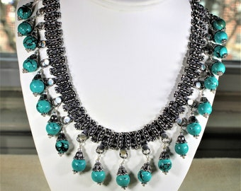 Turquoise necklace, beaded necklace, statement necklace, turquoise and silver choker, exceptional jewel