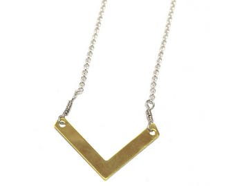 NEW! Womans Gold vermeil necklace, v-shaped, great for layering, handmade, rustic, contemporary, minimalist, boho - Free shipping!