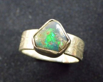 Australian Lightning Ridge Opal Silver Ring