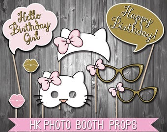 Kitty Photo Booth Props // Pink and Gold // Party Decorations// Instant download // Digital Printable