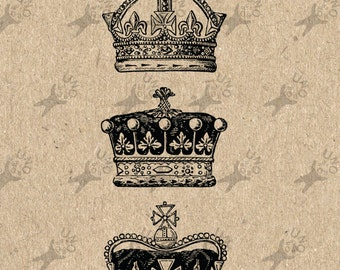 Vintage black and white image collage Crown Instant Download Digital printable picture clipart graphic - transfer, burlap, iron on HQ 300dpi