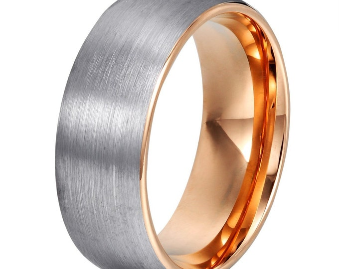Rose Gold inlay 8mm Round Domed Shape Brushed Tungsten Ring Wedding Band - Comfort fit- Unisex Ring