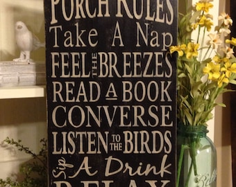 Porch Rules Sign, Typography Word Art, Subway Sign, Porch Sign, Primitive Sign
