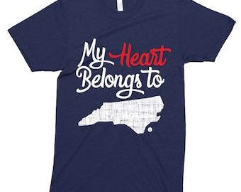 NORTH CAROLINA HOME State  My Heart Belongs To  Southern T-Shirt