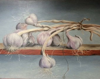"""Still life, """"Garlic"""", oil painting, painting, french oil painting"""