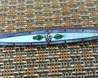 Victorian Enameled Guilloche Bar Pin - Vintage Brooch Gilt Brass