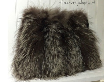 Vintage Racoon Fur Muff/Purse Winter Wedding