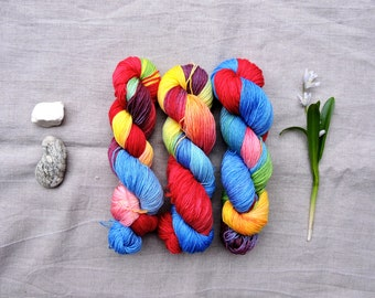 Rainbow 4ply- Hand Dyed Yarn -  100% merino wool
