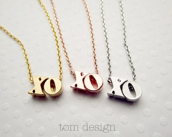 XO Necklace Lowercase - Valentine's Necklace, Valentine's Gift, XO Necklace, Hugs & Kisses Love Necklace Dainty Necklace Simple Gift for Her