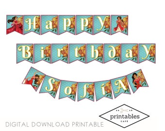 CUSTOMIZED Elena of Avalor Bunting Banner English and Spanish Digital Download Printable pdf Birthday Party DIY