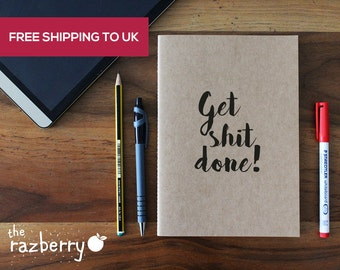 Get Shit Done A5 Vintage Kraft Notebook with Quote Blank Book Paper Stationery Notebook Premium Kraft A6 Notebook Notepad with Quote Ribbon