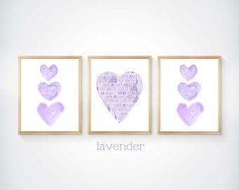 Lavender Wall Decor, 8x10 Set of 3 Watercolor Prints, Lavender Nursery Decor, Purple Girls Room, Purple Wall Decor, Purple Heart, Purple Art