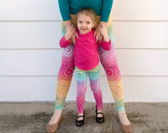 Mommy and Me Outfits - Matching Mother Daughter Outfits - Mommy and Me Leggings - Mom and Daughter Matching Outfits - Rainbow Medallion