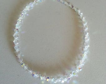 Vintage 1950s Crystal Iridescent Glass Beaded Necklace with Sterling Silver Clasp