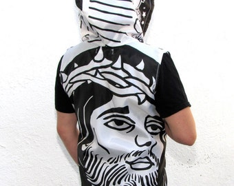 Mens Clothing Windbreaker Jacket - handmade upcycled clothing - zippered - sleeveless hoodie religious vest - coat - black and white - jesus