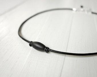 Leather necklace black cord necklace black metal bead unisex necklace for men for women