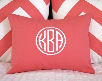 Monogram Pillow - Personalized Gift - Circle Monogram 12 x 16 - Housewarming Gift - Dorm Decor - Solid Color - Letter Pillow - Name Pillow