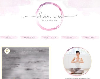 Blog Kit Graphics, Website Kit Design, Social Icons, Blog Header Design, Website Header, Watercolor Logo Design, Yoga, Enso, Zen, Circle