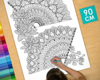 Poster / Poster deco coloring (90cm) fan - coloring for adults
