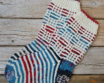 Hand Knit Wool Socks -Colorful Socks for Women- Wool Socks- Size S,M,L