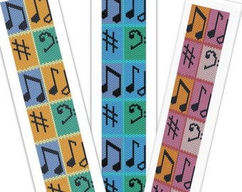 Annotations 2 Musical bracelet or bookmark peyote beadwork: Instant Downloadable Pattern PDF File