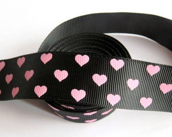 Pink grosgrain Ribbon 25 mm black 4 M Ruban heart