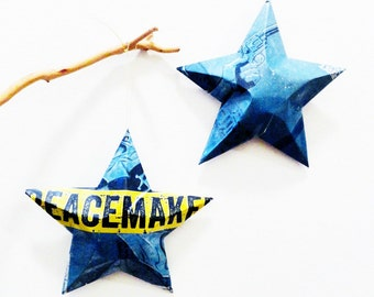 Peacemaker Beer Star, Recycled Beer Can Ornaments, Upcycling. Lonerider Brewing,