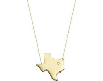 Diamond accent Necklace, State Charm Necklace, State Jewelry, States Pendant necklace in 18k Yellow Gold Plated 925 sterling silver