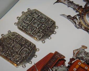 set of three silver Aztec connectors