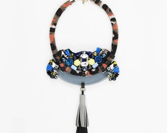 Hand-sewn jewel necklace with stones and Swarovsk made in Italy