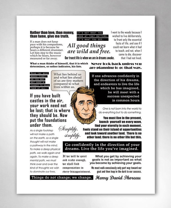 THOREAU QUOTES Smart Funny Inspirational QuoteHeads Art Print 11x14 by Rob Ozborne
