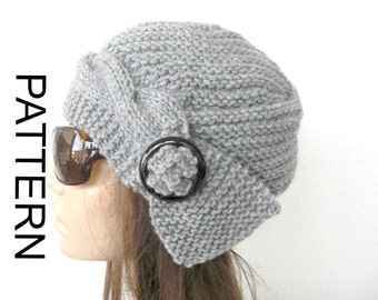 Instant Download Knit hat pattern- Digital DIY  Hat Knitting PATTERN PDF -  Handmade Cable Knit hat  Pattern - Cloche Hat Knit Pattern