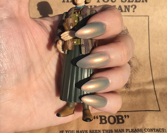 My Log Has Something to Tell You- Twin Peaks- Gray and Gold Duochrome Polish