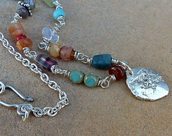 Multi Color Gemstones & Bead Necklace.Rustic Sterling Silver Leaf Shape Medallion.Silver chain.Rustic Boho Tribal Southwest Style Jewelry