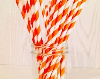Orange Striped Paper Straws - Party Straws - Paper Straws - Orange Straws - Striped Straws