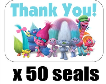 "50 Trolls Thank You Envelope Seals / Labels / Stickers, 1"" by 1.5"""