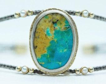 Cuff bracelet , turquoise bracelet , pearl bracelet , stacking bracelet, blue , gemstone , december birthstone , godt for her .