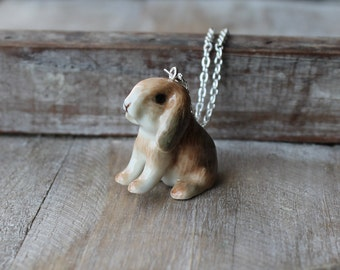 Bunny-Rabbit hand painted ceramic necklace